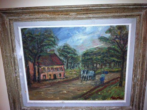 19th century french oil painting rural scene signed