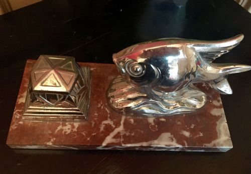 art deco fish pen rest and inkwell chrome on marble
