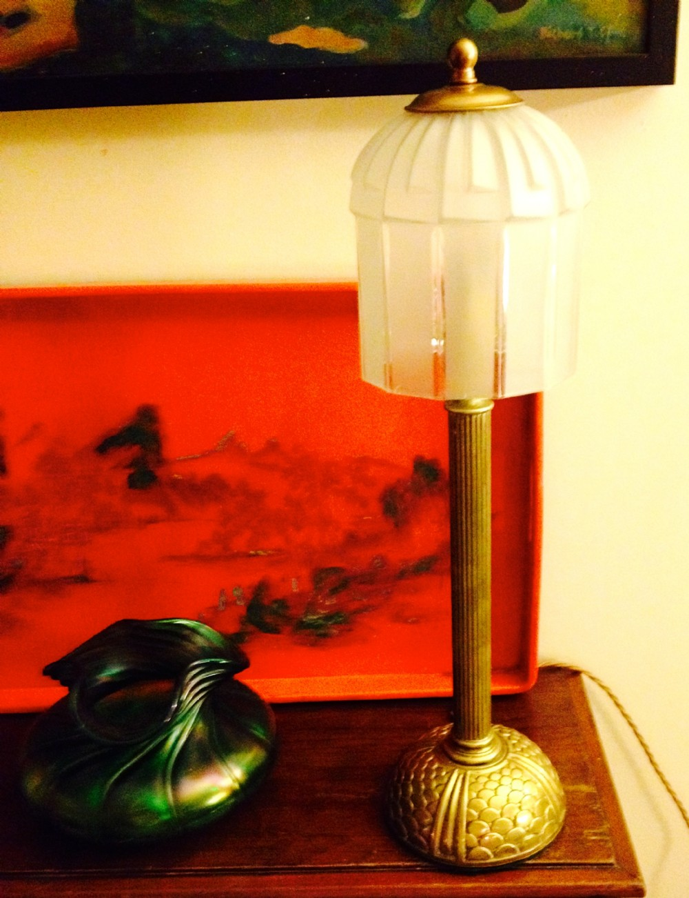 1920 desk lamp bronze and frosted glass