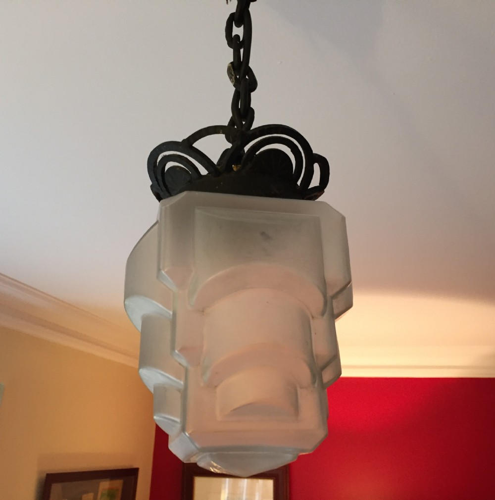 iconic art deco ceiling lamp wrought iron and frosted glass