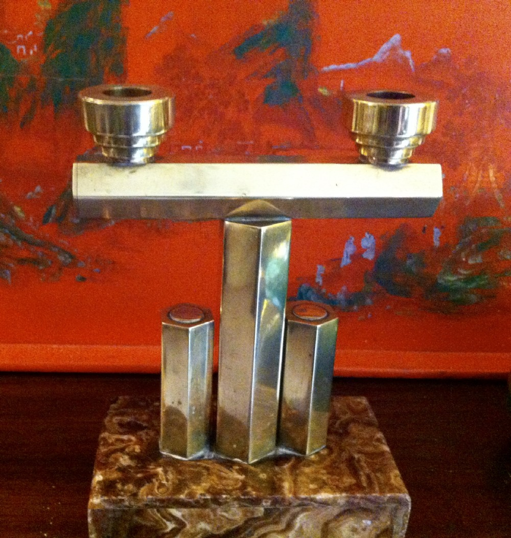 art deco two arm candle holder brass on marble