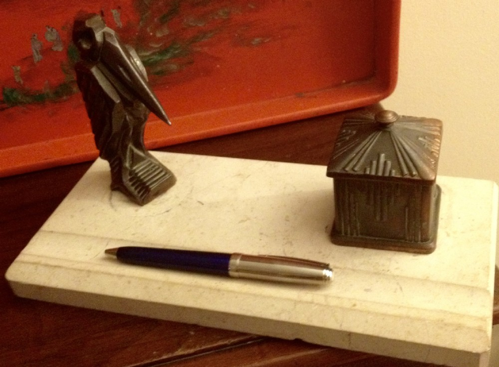 art deco pelican pen rest and inkwell bronze on marble
