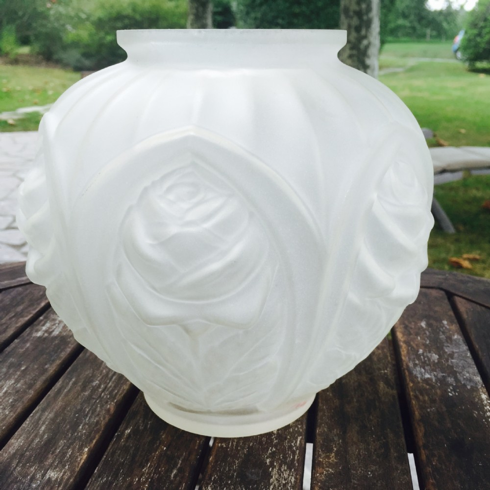 large art deco vase frosted glass