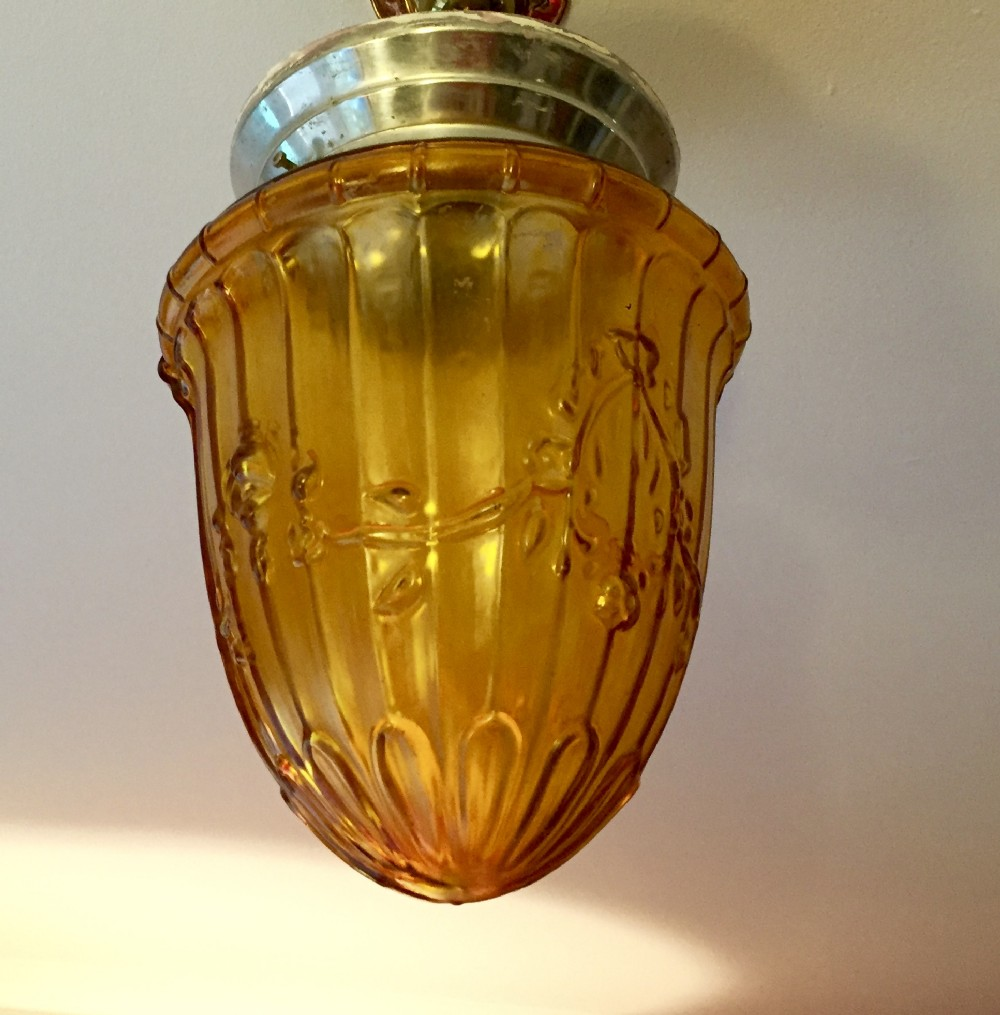 edwardian amber glass lantern