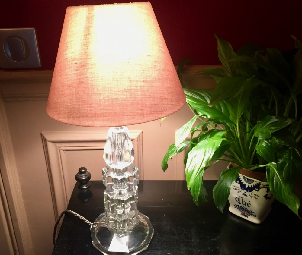 lovely 1930 dressing table lamp lucite and cut glass