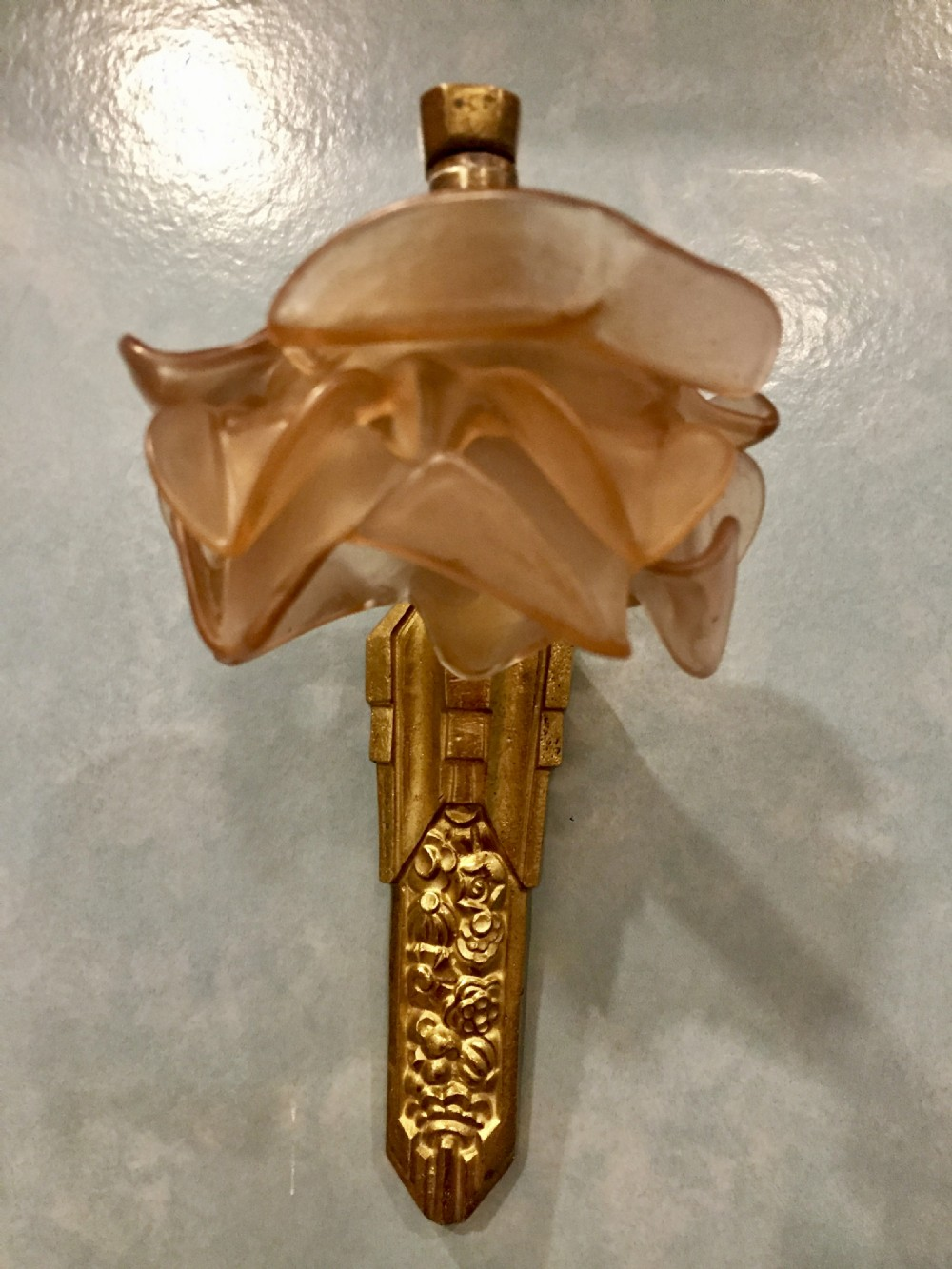 1920 boudoir wall light bronze and amber frosted glass