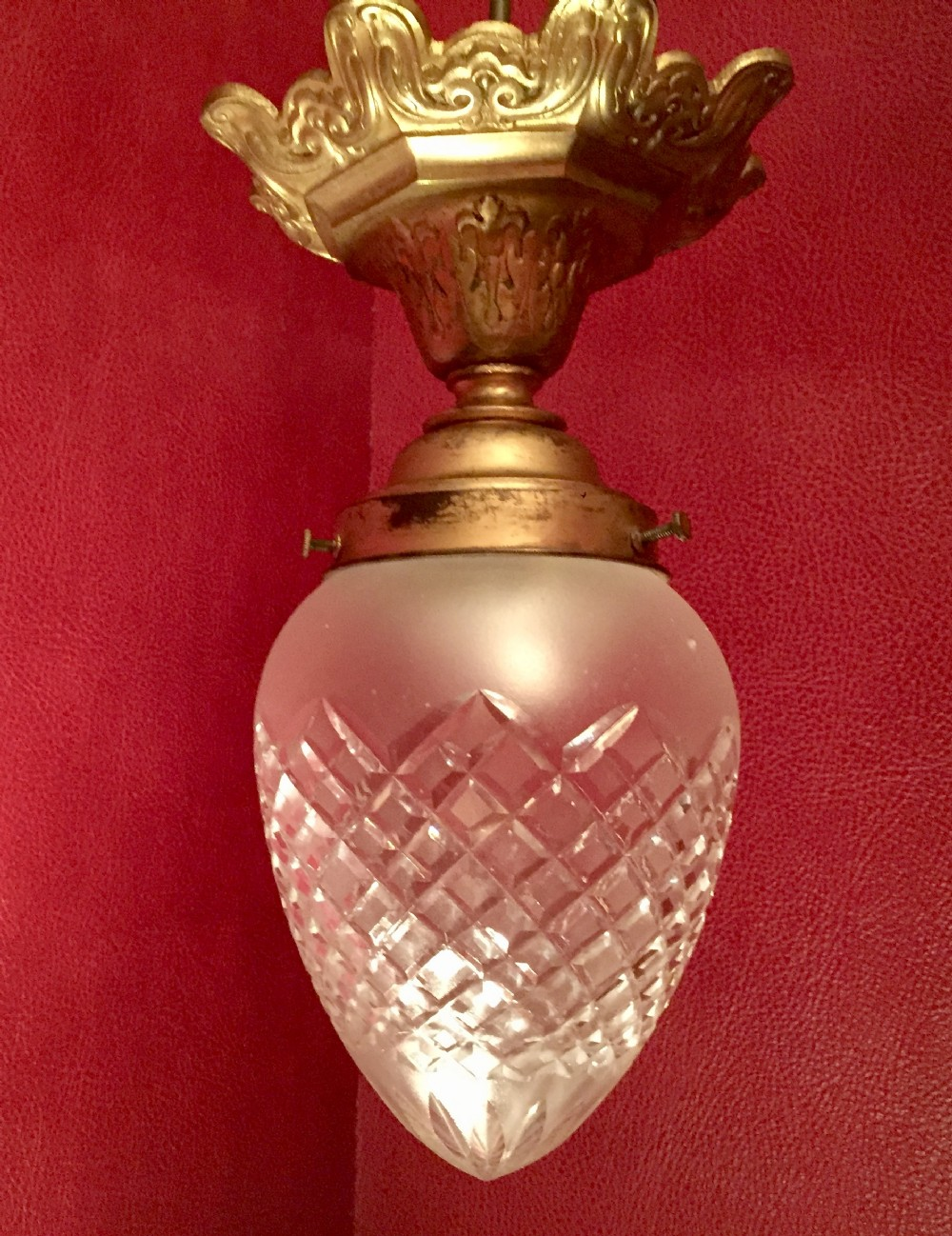 1910 acorn etched crystal bronze ceiling lamp french