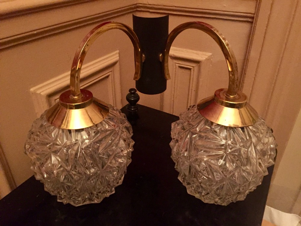 vintage dual wall light brass and crystal