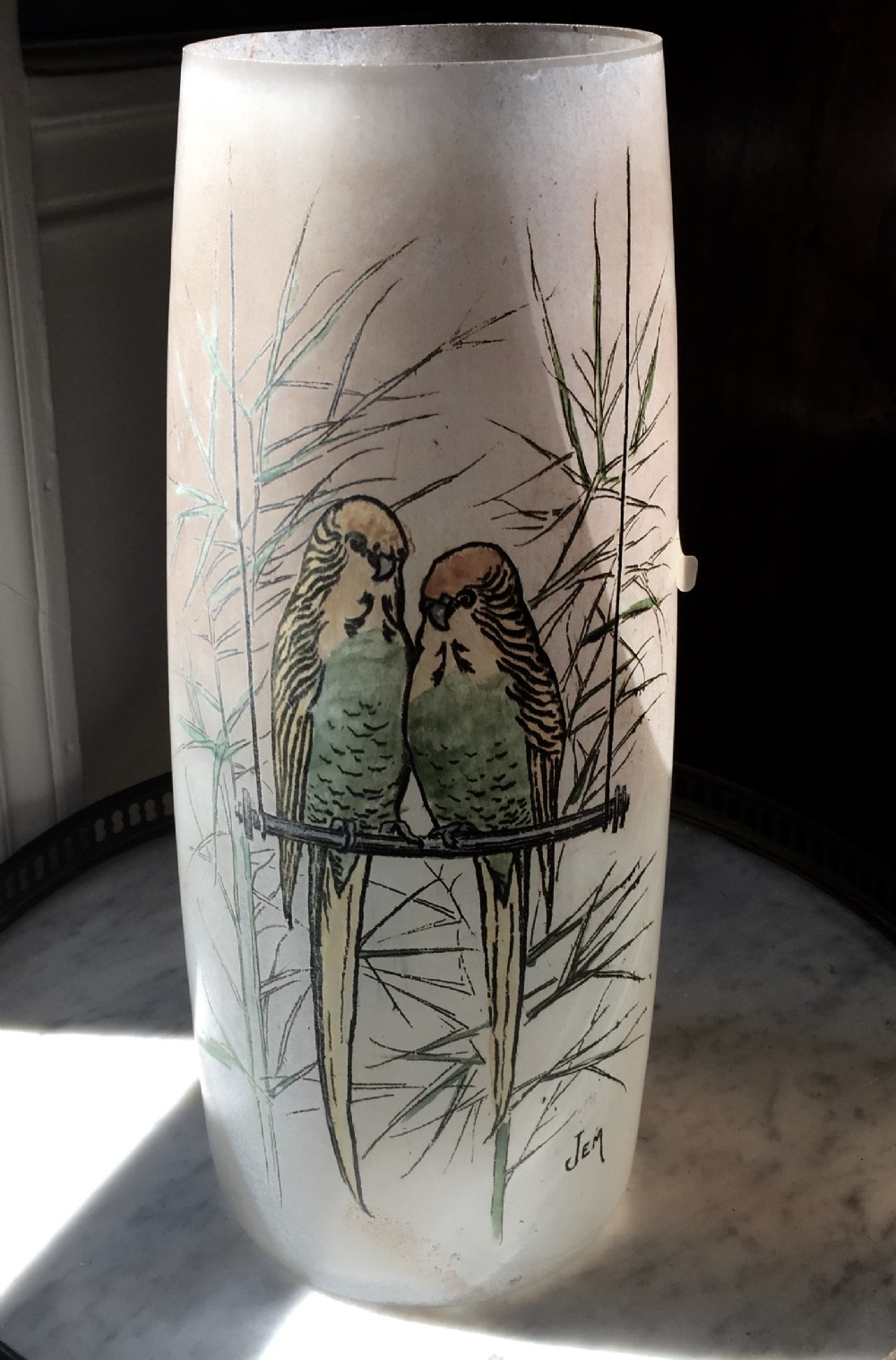 art deco enamelled vase lovebirds by jem