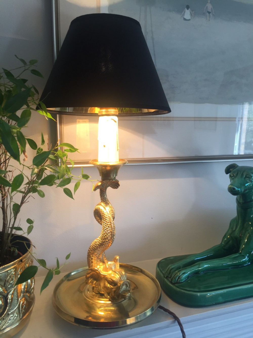 napoleon iii dolphin desk consol lamp in bronze