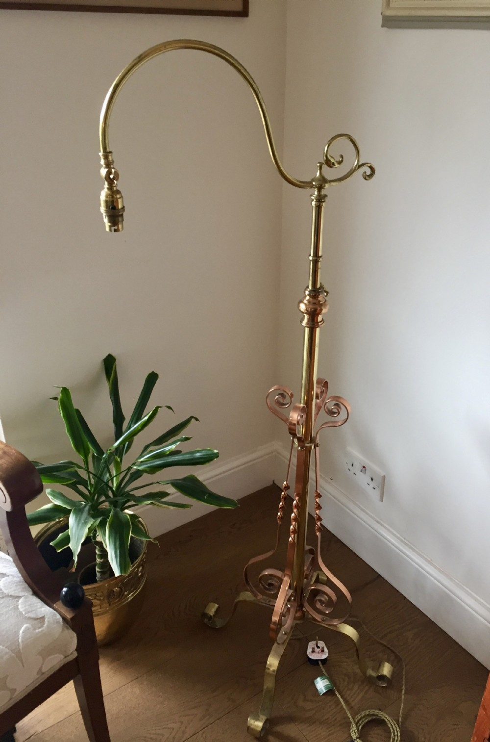 handsome edwardian standard telescopic articulate lamp brass copper