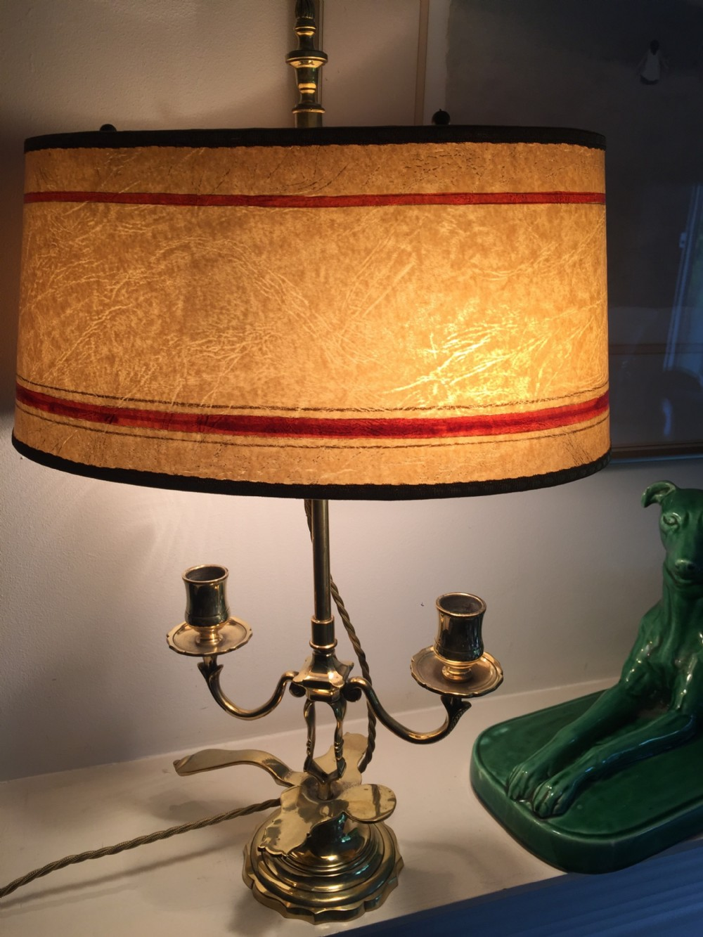 edwardian dual light desk lamp brass