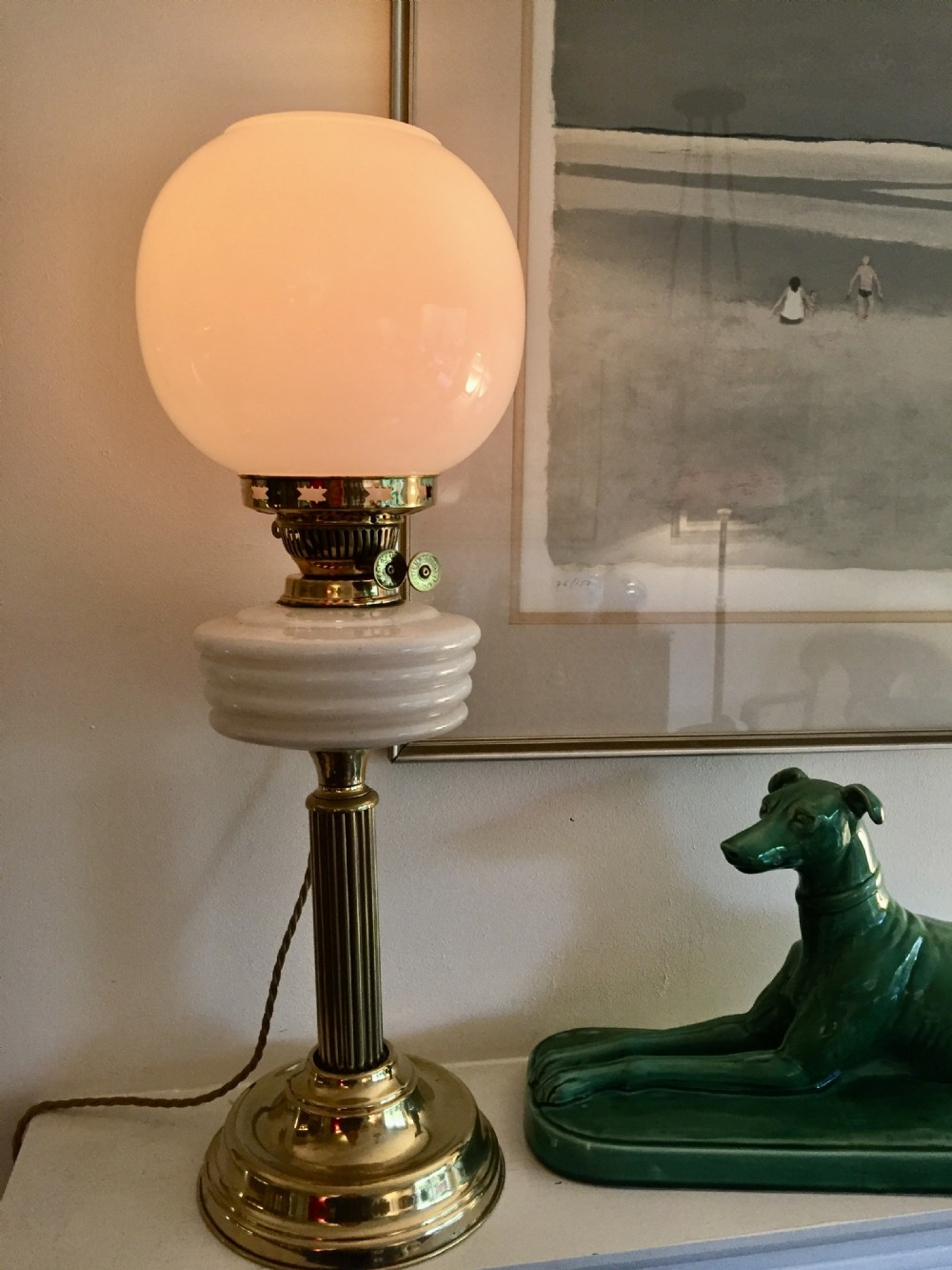 edwardian converted oil lamp opaline and brass