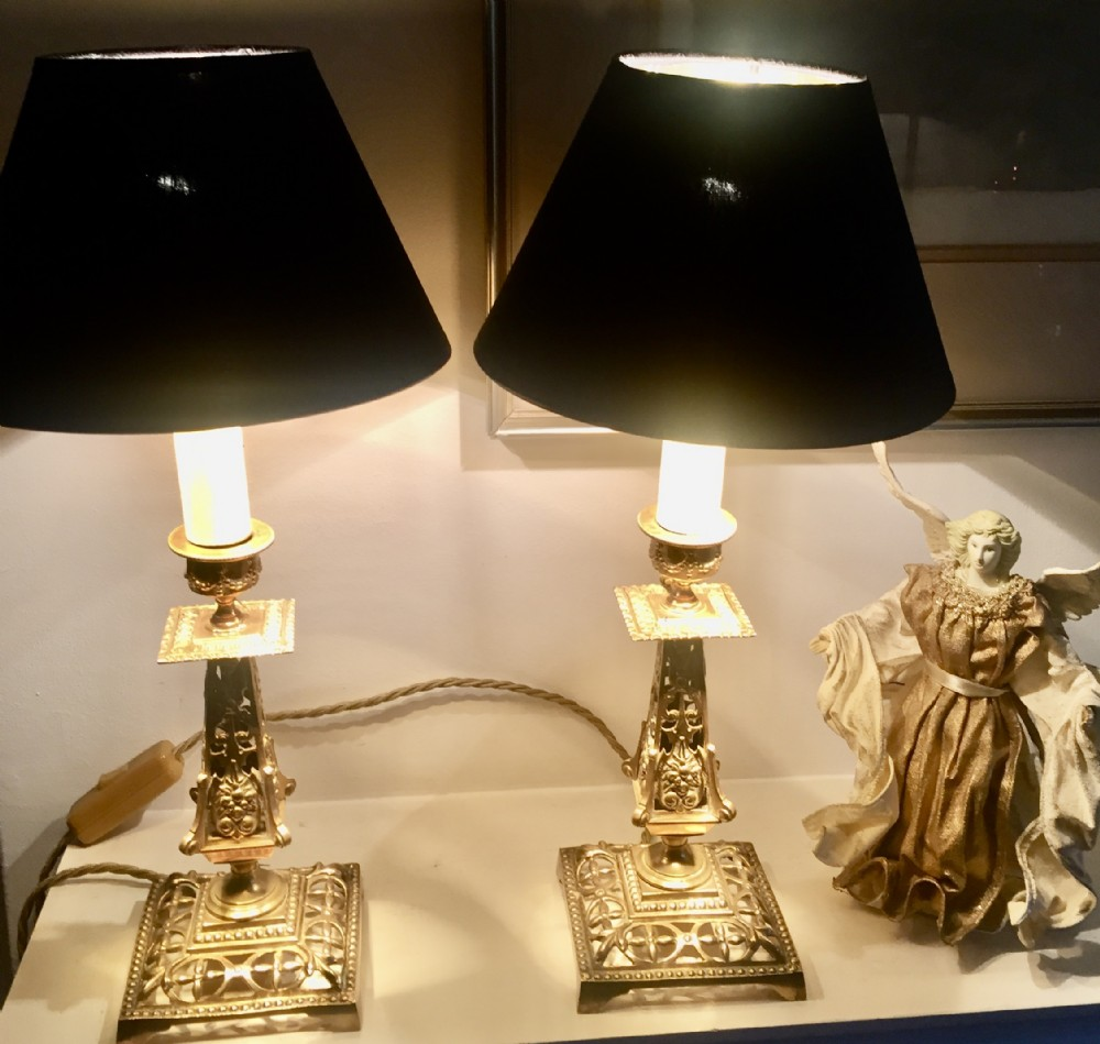 spectacular pair arts and crafts lamps bronze